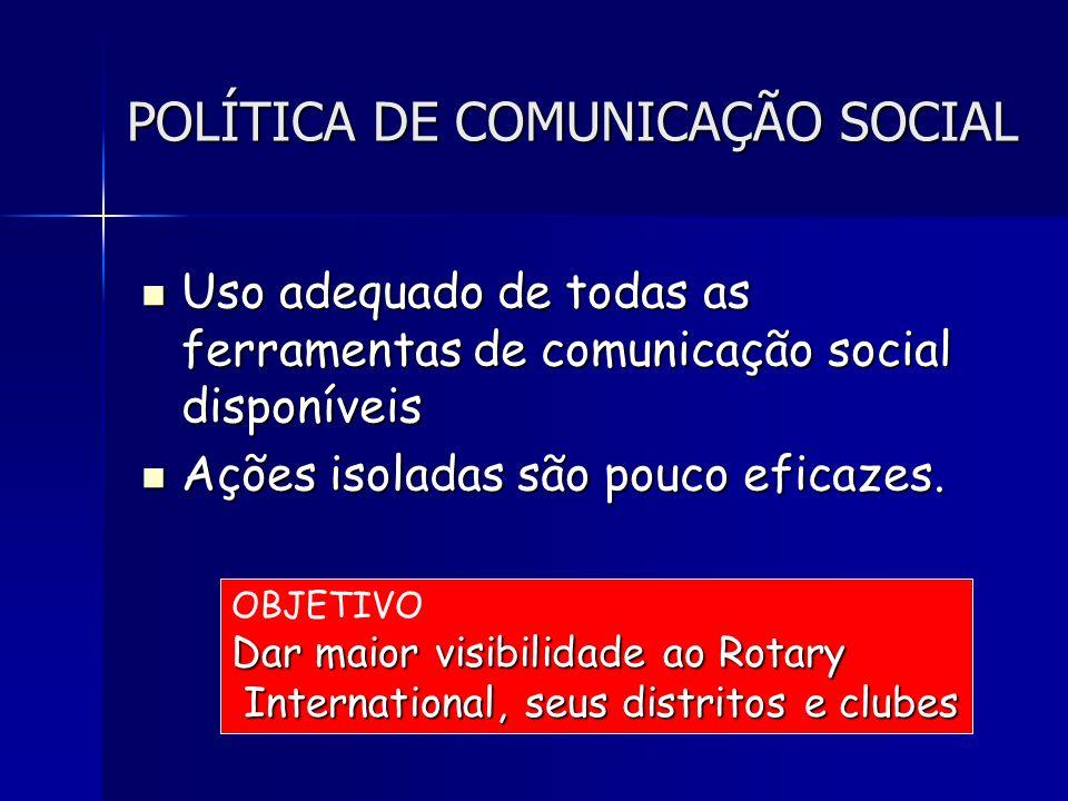 POLÍTICA DE COMUNICAÇÃO SOCIAL Uso adequado de todas as ferramentas de comunicação social disponíveis Uso adequado de todas as ferramentas de comunica