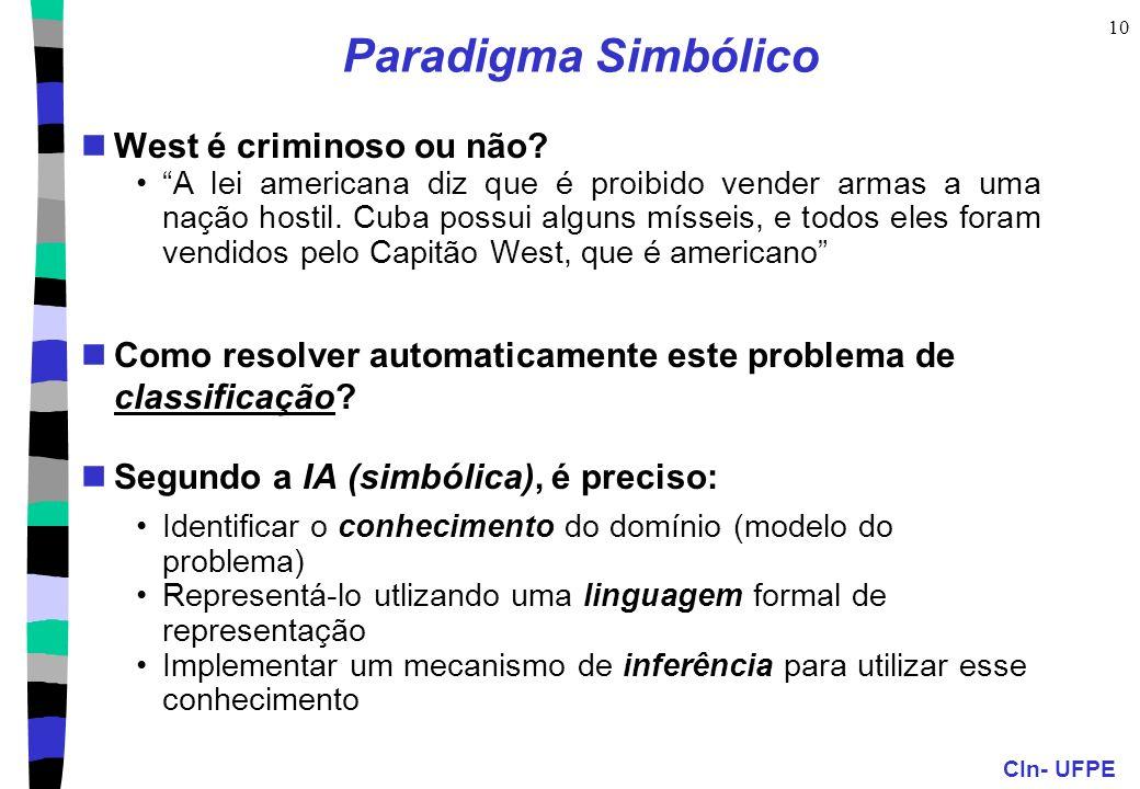 CIn- UFPE 9 Paradigmas de raciocínio Simbólico: metáfora lingüística ex. sistemas de produção, agentes,... Conexionista: metáfora cerebral ex. redes n