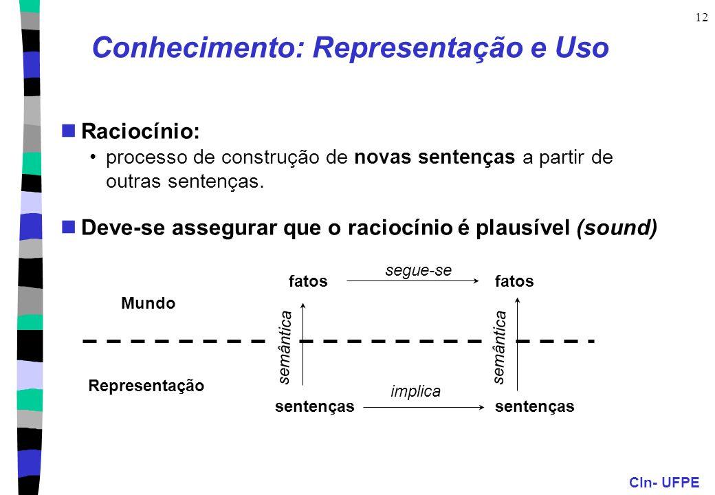 CIn- UFPE 11 Conhecimento: organizando... Programa em IA = Agente racional entidade de software que age em um ambiente segundo um princípio de raciona