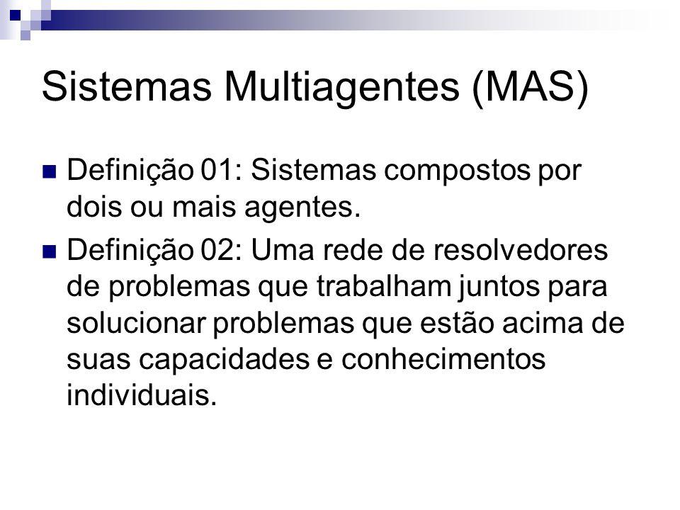 Sistemas Multiagentes (MAS) Definição 01: Sistemas compostos por dois ou mais agentes. Definição 02: Uma rede de resolvedores de problemas que trabalh