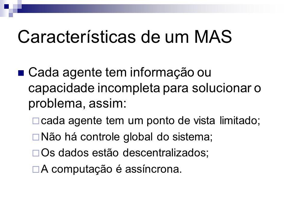 Características de um MAS Cada agente tem informação ou capacidade incompleta para solucionar o problema, assim: cada agente tem um ponto de vista lim