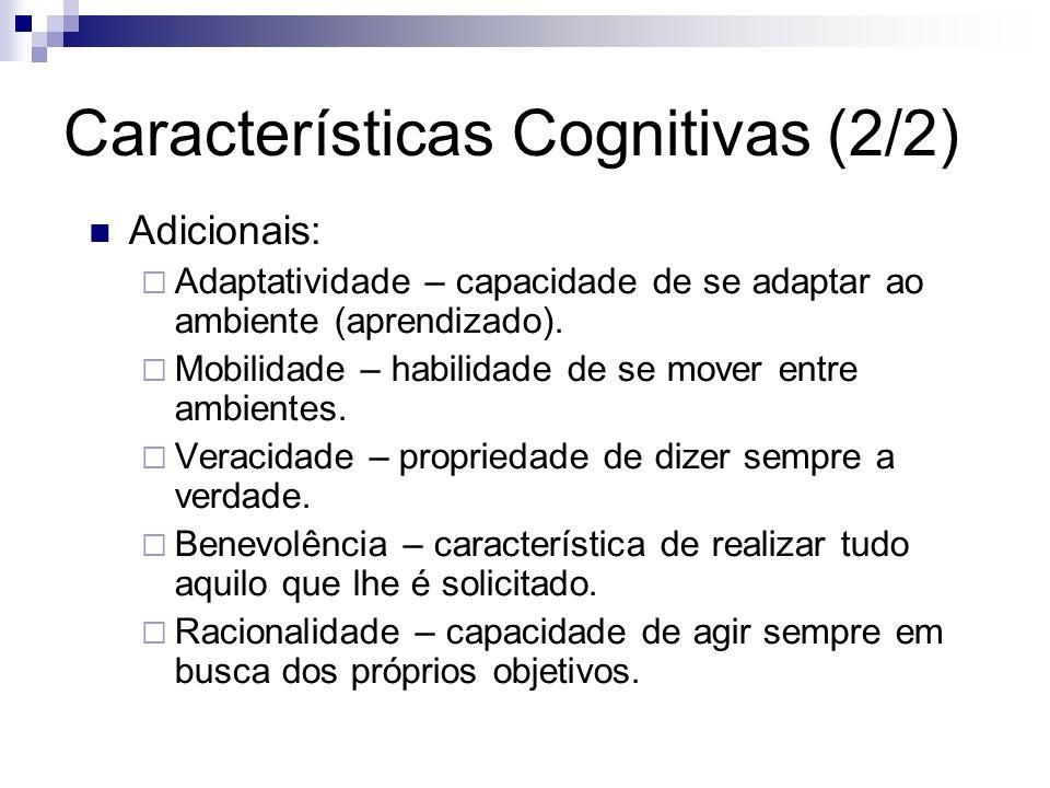 Características Cognitivas (2/2) Adicionais: Adaptatividade – capacidade de se adaptar ao ambiente (aprendizado). Mobilidade – habilidade de se mover