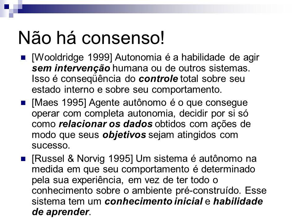 Não há consenso! [Wooldridge 1999] Autonomia é a habilidade de agir sem intervenção humana ou de outros sistemas. Isso é conseqüência do controle tota