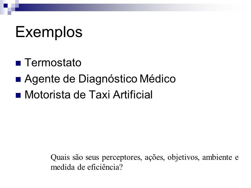 Exemplos Termostato Agente de Diagnóstico Médico Motorista de Taxi Artificial Quais são seus perceptores, ações, objetivos, ambiente e medida de efici