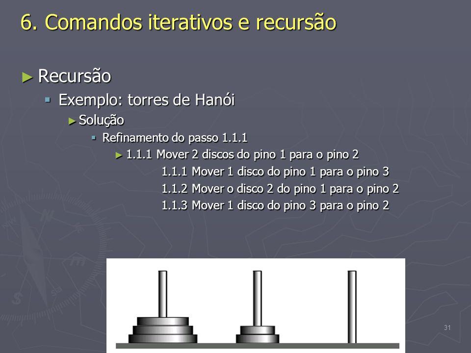 (C) 2008 Gustavo Motta31 6. Comandos iterativos e recursão Recursão Recursão Exemplo: torres de Hanói Exemplo: torres de Hanói Solução Solução Refinam