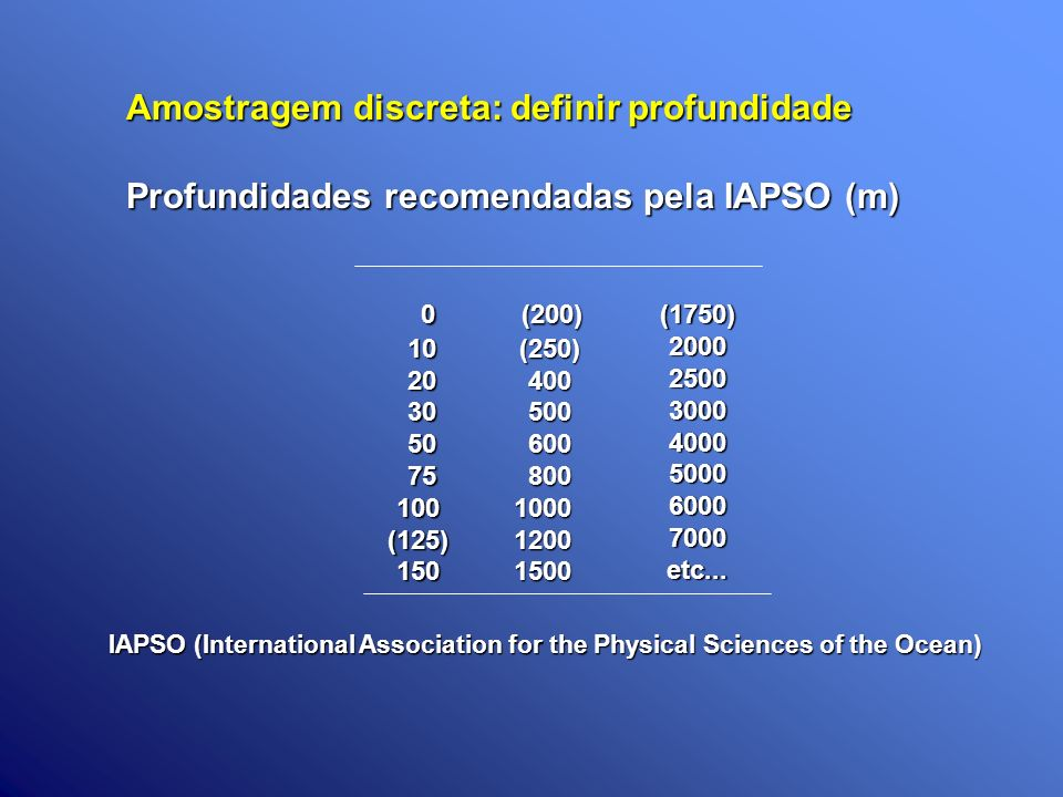 Amostragem discreta: definir profundidade 0 10 10 20 20 30 30 50 50 75 75100(125)150 (200) (200) (250) (250) 400 400 500 500 600 600 800 8001000120015