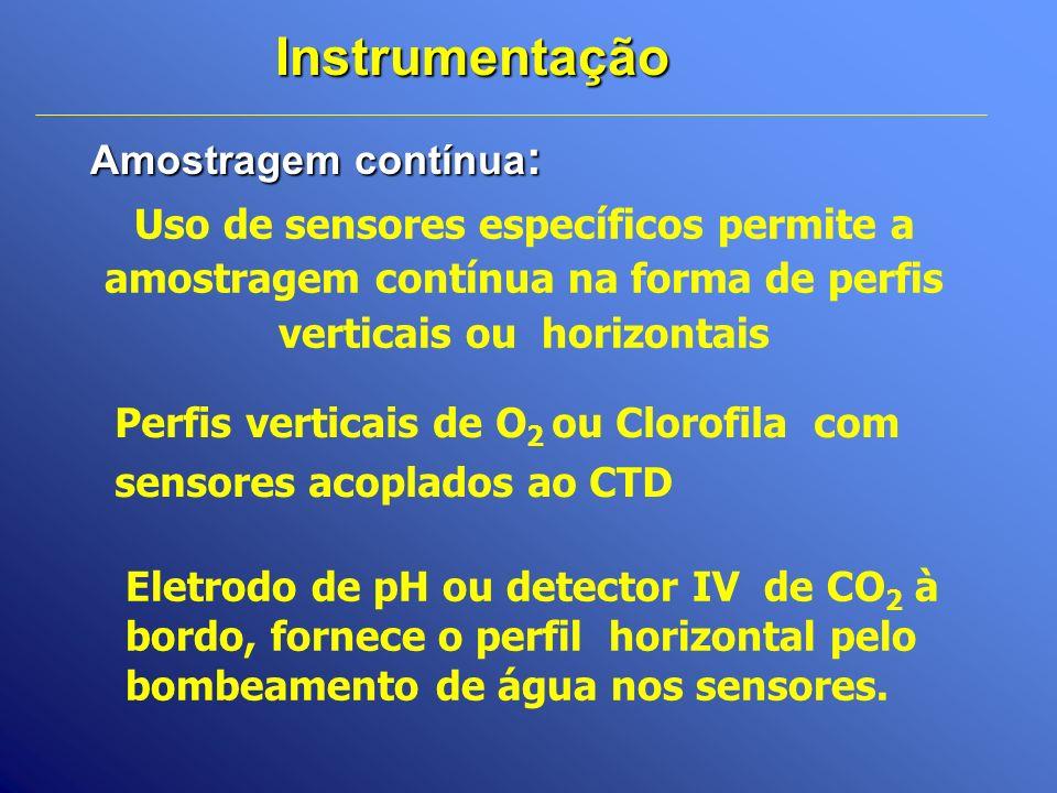 Amostragem contínua : Instrumentação Uso de sensores específicos permite a amostragem contínua na forma de perfis verticais ou horizontais Perfis vert