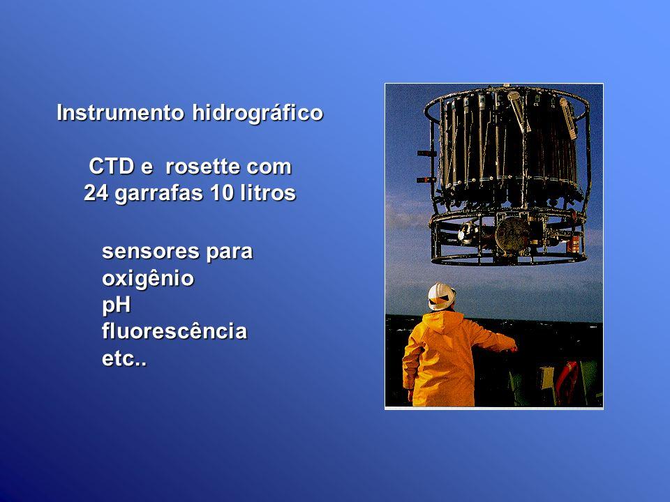 Instrumento hidrográfico CTD e rosette com 24 garrafas 10 litros sensores para oxigêniopHfluorescênciaetc..