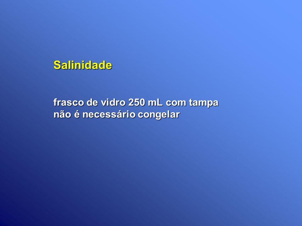 Salinidade frasco de vidro 250 mL com tampa não é necessário congelar