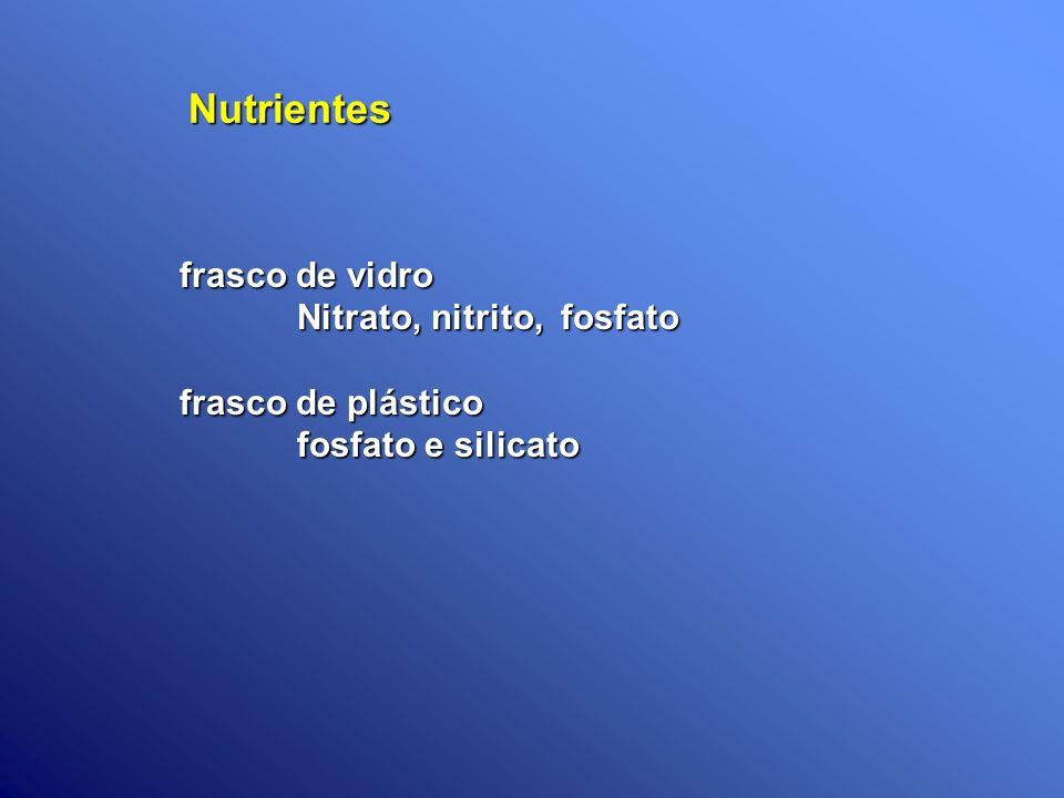 Nutrientes frasco de vidro Nitrato, nitrito, fosfato Nitrato, nitrito, fosfato frasco de plástico fosfato e silicato fosfato e silicato