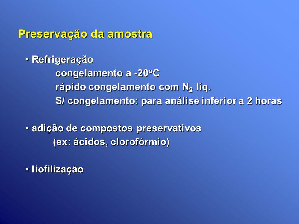 Preservação da amostra Refrigeração Refrigeração congelamento a -20 o C rápido congelamento com N 2 líq. S/ congelamento: para análise inferior a 2 ho