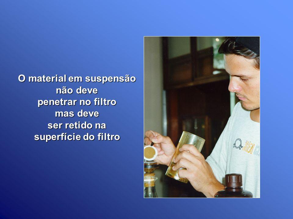 O material em suspensão não deve penetrar no filtro mas deve ser retido na superfície do filtro