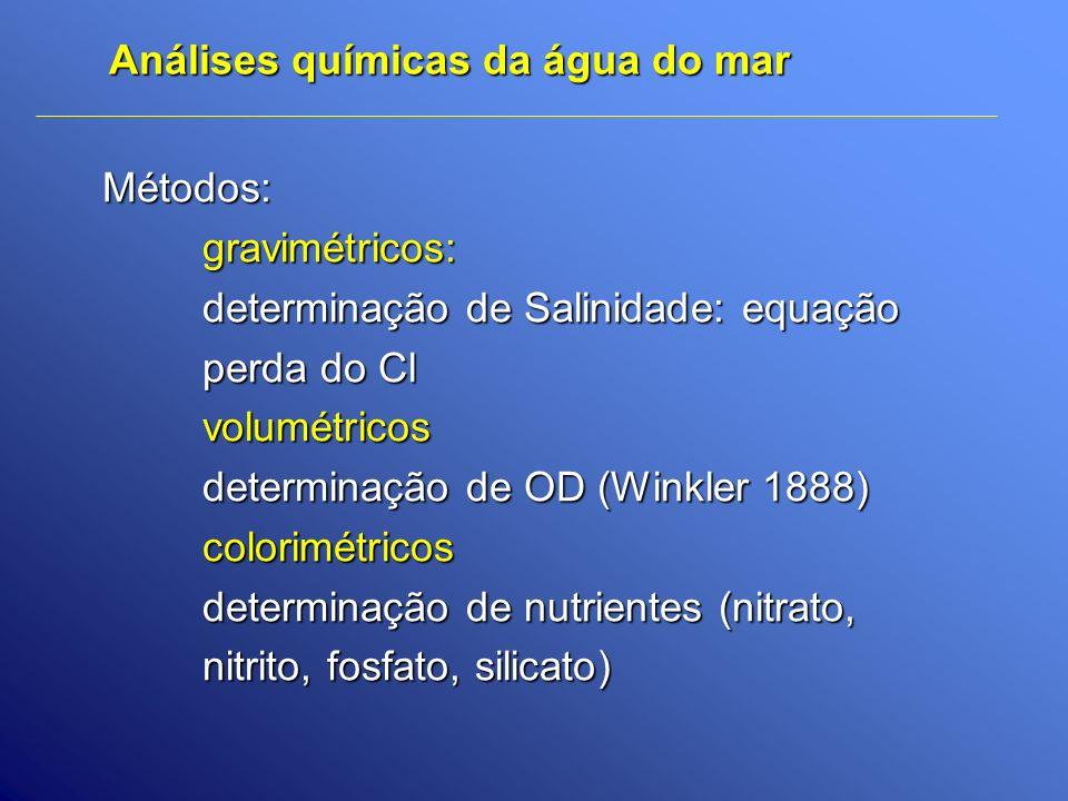 Análises químicas da água do mar Métodos:gravimétricos: determinação de Salinidade: equação perda do Cl volumétricos determinação de OD (Winkler 1888)
