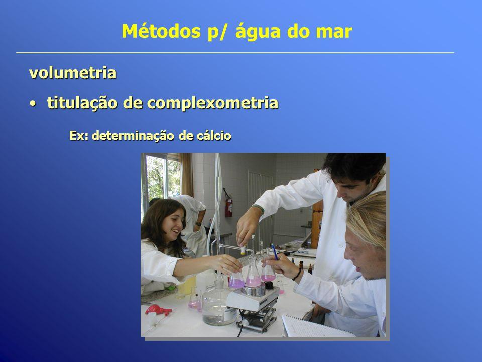 Métodos p/ água do marvolumetria titulação de complexometriatitulação de complexometria Ex: determinação de cálcio