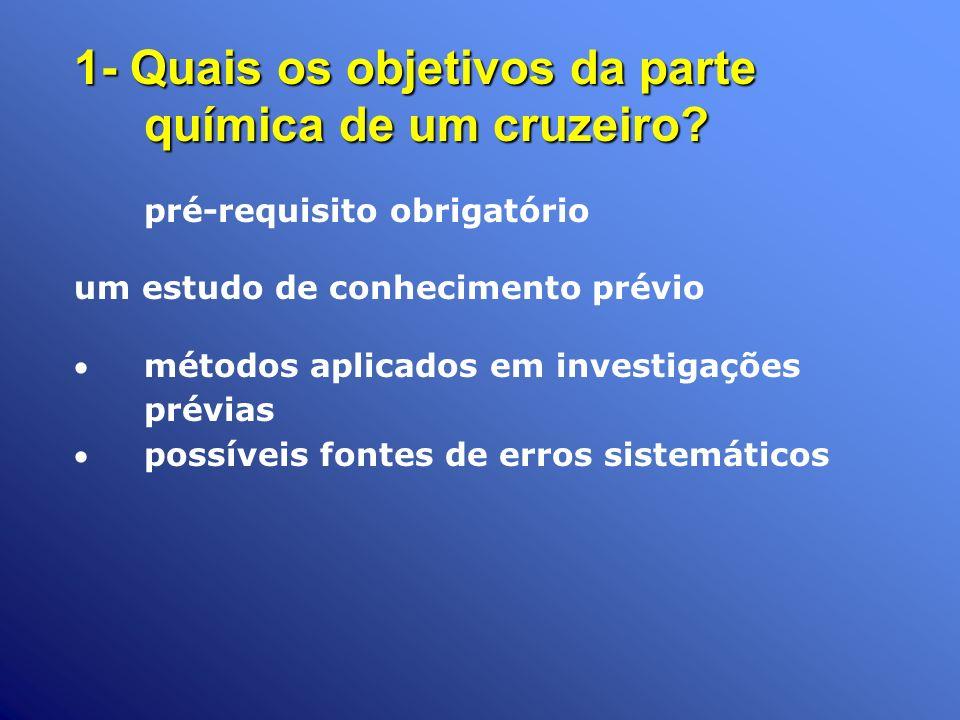 1- Quais os objetivos da parte química de um cruzeiro? pré-requisito obrigatório um estudo de conhecimento prévio métodos aplicados em investigações p