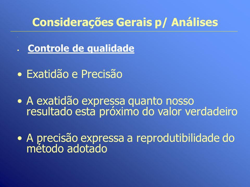 Considerações Gerais p/ Análises. Controle de qualidade Exatidão e Precisão A exatidão expressa quanto nosso resultado esta próximo do valor verdadeir