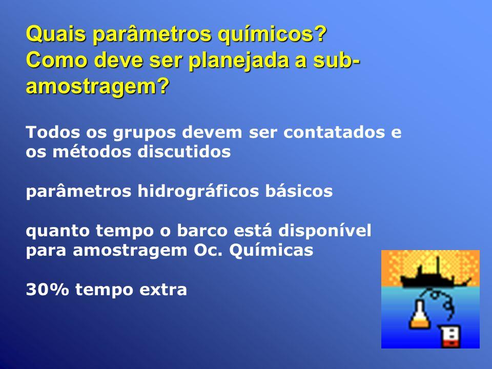 Quais parâmetros químicos? Como deve ser planejada a sub- amostragem? Todos os grupos devem ser contatados e os métodos discutidos parâmetros hidrográ