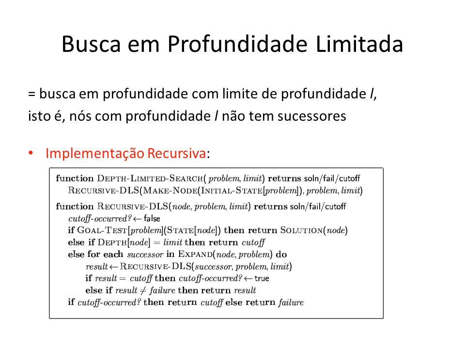 Busca em Profundidade Limitada = busca em profundidade com limite de profundidade l, isto é, nós com profundidade l não tem sucessores Implementação R