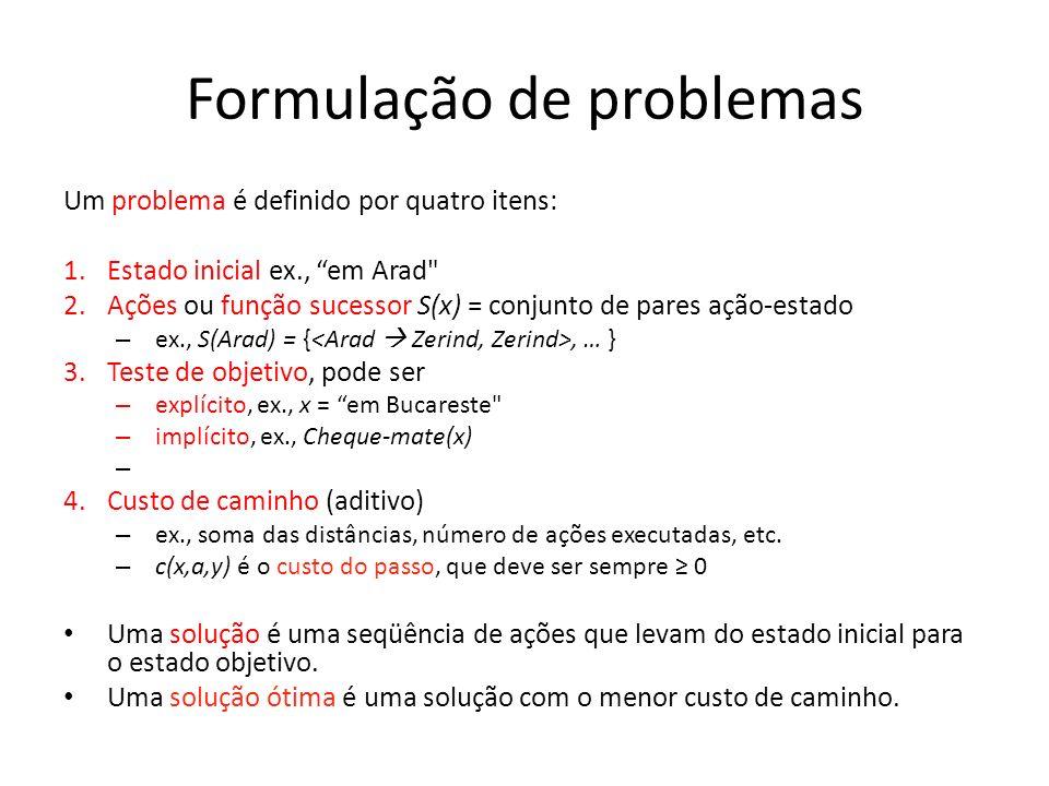 Formulação de problemas Um problema é definido por quatro itens: 1.Estado inicial ex., em Arad
