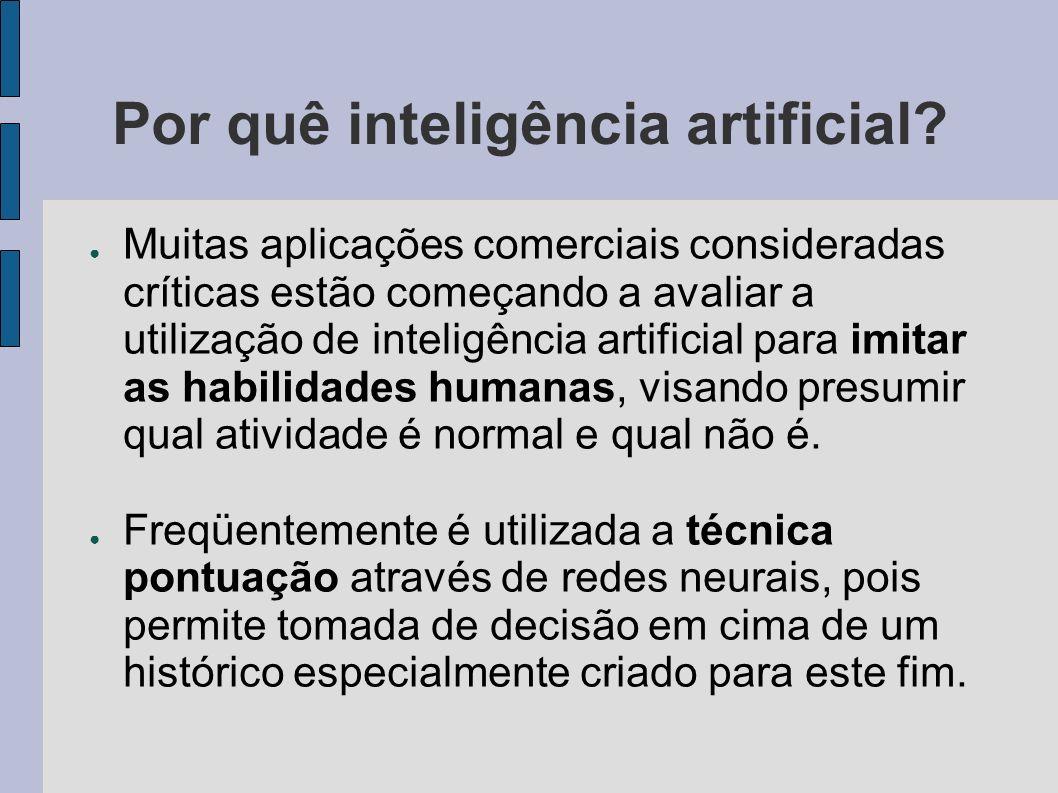 Por quê inteligência artificial? Muitas aplicações comerciais consideradas críticas estão começando a avaliar a utilização de inteligência artificial