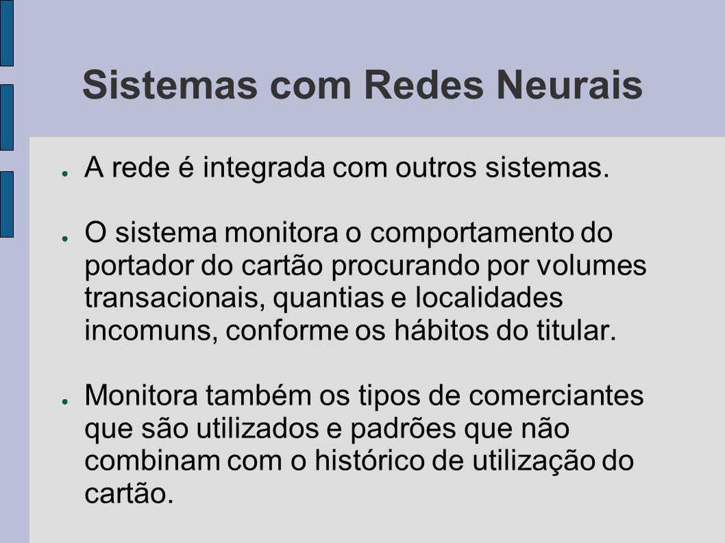 Sistemas com Redes Neurais A rede é integrada com outros sistemas. O sistema monitora o comportamento do portador do cartão procurando por volumes tra