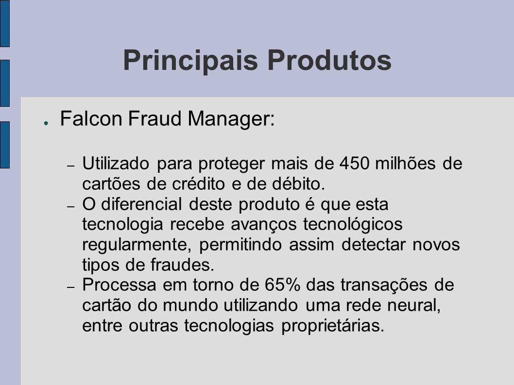 Principais Produtos Falcon Fraud Manager: – Utilizado para proteger mais de 450 milhões de cartões de crédito e de débito. – O diferencial deste produ