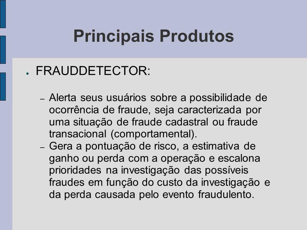 Principais Produtos FRAUDDETECTOR: – Alerta seus usuários sobre a possibilidade de ocorrência de fraude, seja caracterizada por uma situação de fraude
