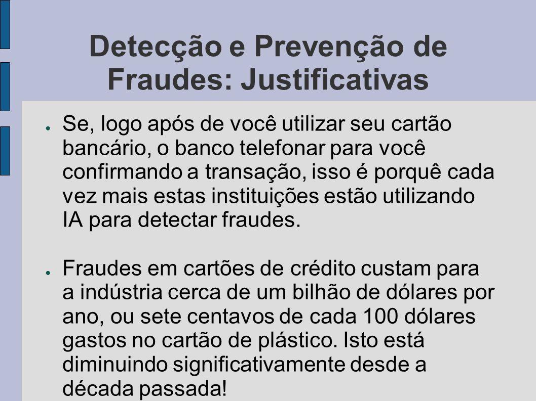 Detecção e Prevenção de Fraudes: Justificativas Se, logo após de você utilizar seu cartão bancário, o banco telefonar para você confirmando a transaçã
