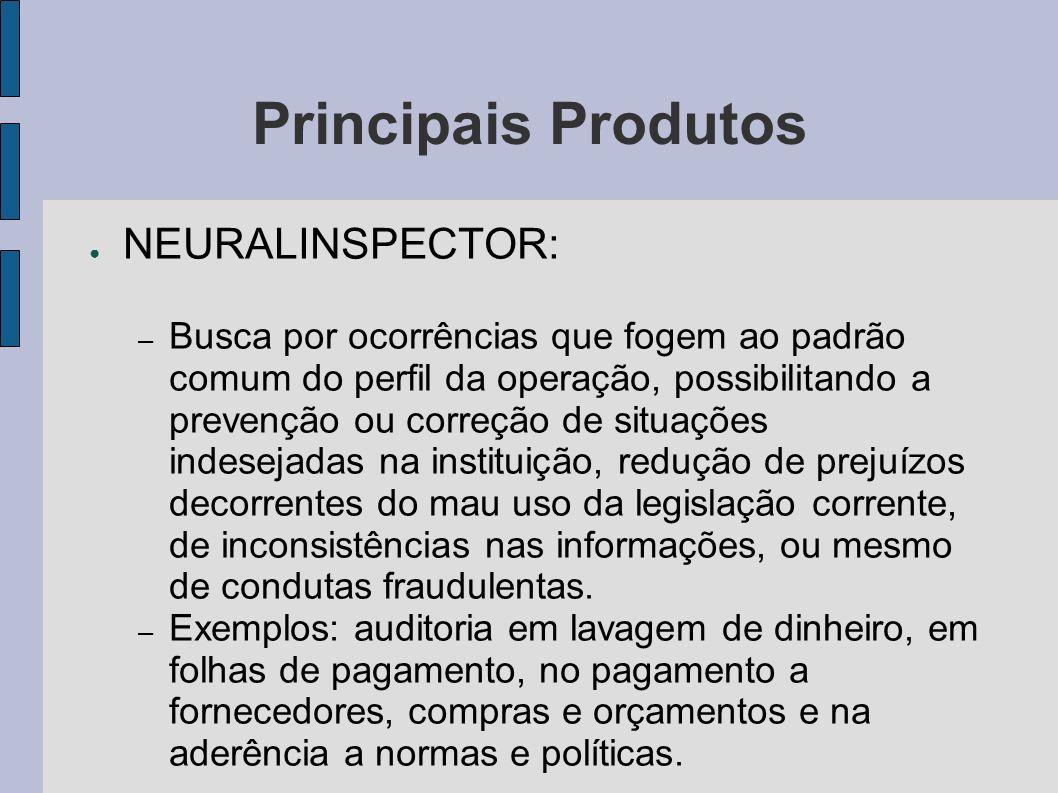 Principais Produtos NEURALINSPECTOR: – Busca por ocorrências que fogem ao padrão comum do perfil da operação, possibilitando a prevenção ou correção d