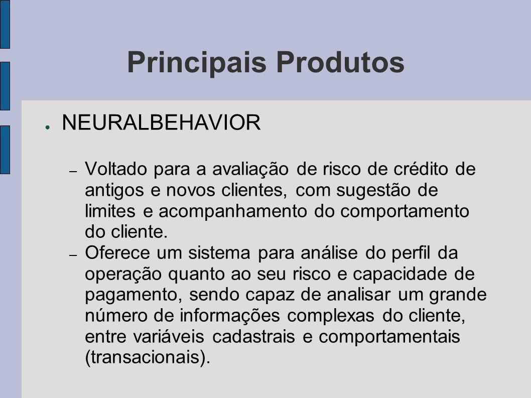 Principais Produtos NEURALBEHAVIOR – Voltado para a avaliação de risco de crédito de antigos e novos clientes, com sugestão de limites e acompanhament