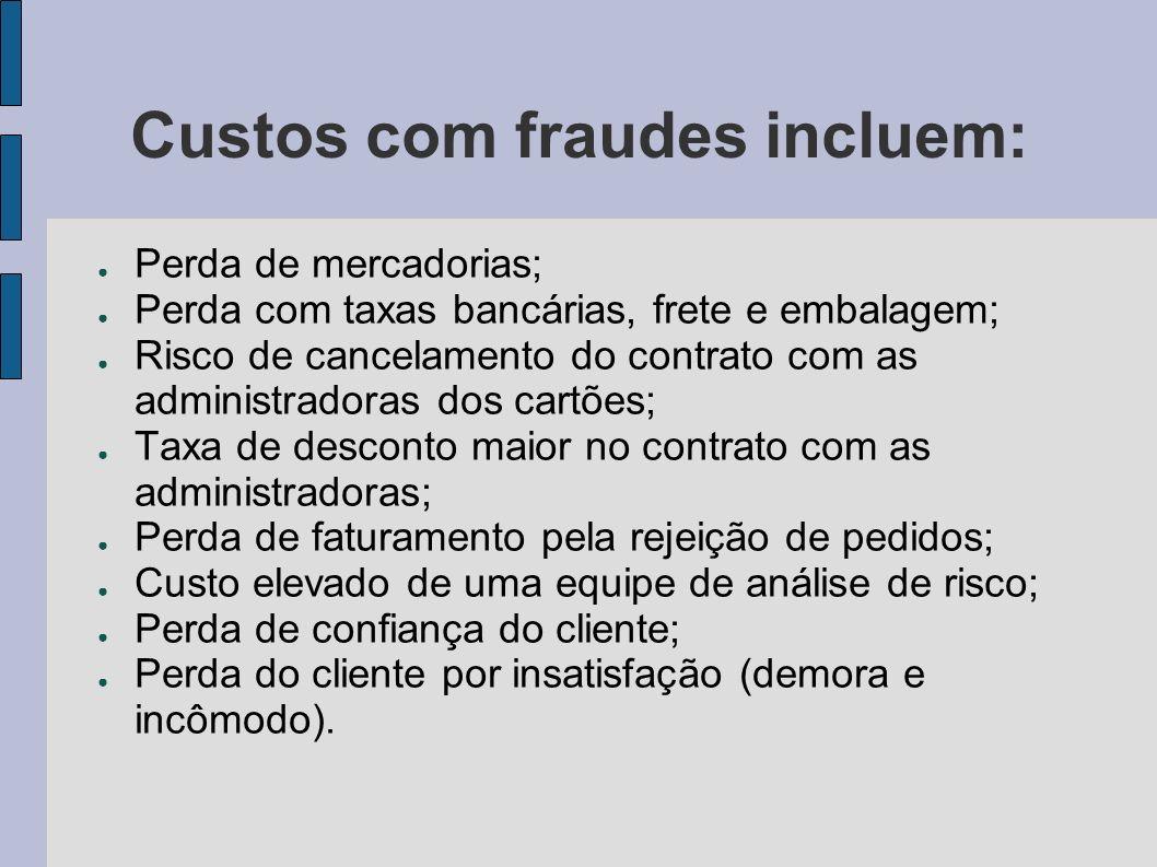Custos com fraudes incluem: Perda de mercadorias; Perda com taxas bancárias, frete e embalagem; Risco de cancelamento do contrato com as administrador
