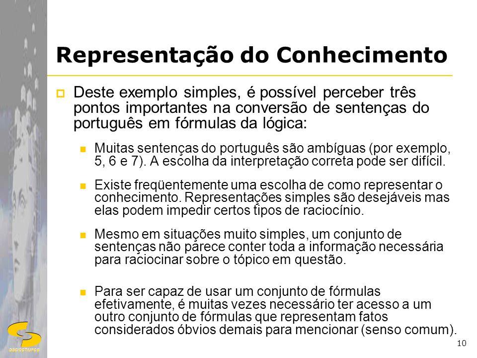 DSC/CCT/UFCG 10 Representação do Conhecimento Deste exemplo simples, é possível perceber três pontos importantes na conversão de sentenças do portuguê