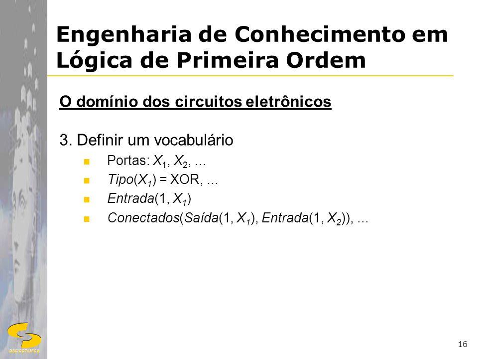 DSC/CCT/UFCG 16 Engenharia de Conhecimento em Lógica de Primeira Ordem O domínio dos circuitos eletrônicos 3. Definir um vocabulário Portas: X 1, X 2,