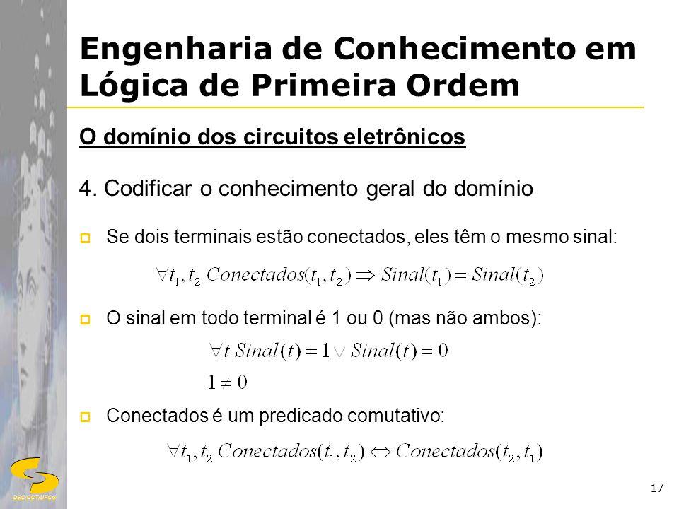 DSC/CCT/UFCG 17 Engenharia de Conhecimento em Lógica de Primeira Ordem O domínio dos circuitos eletrônicos 4. Codificar o conhecimento geral do domíni