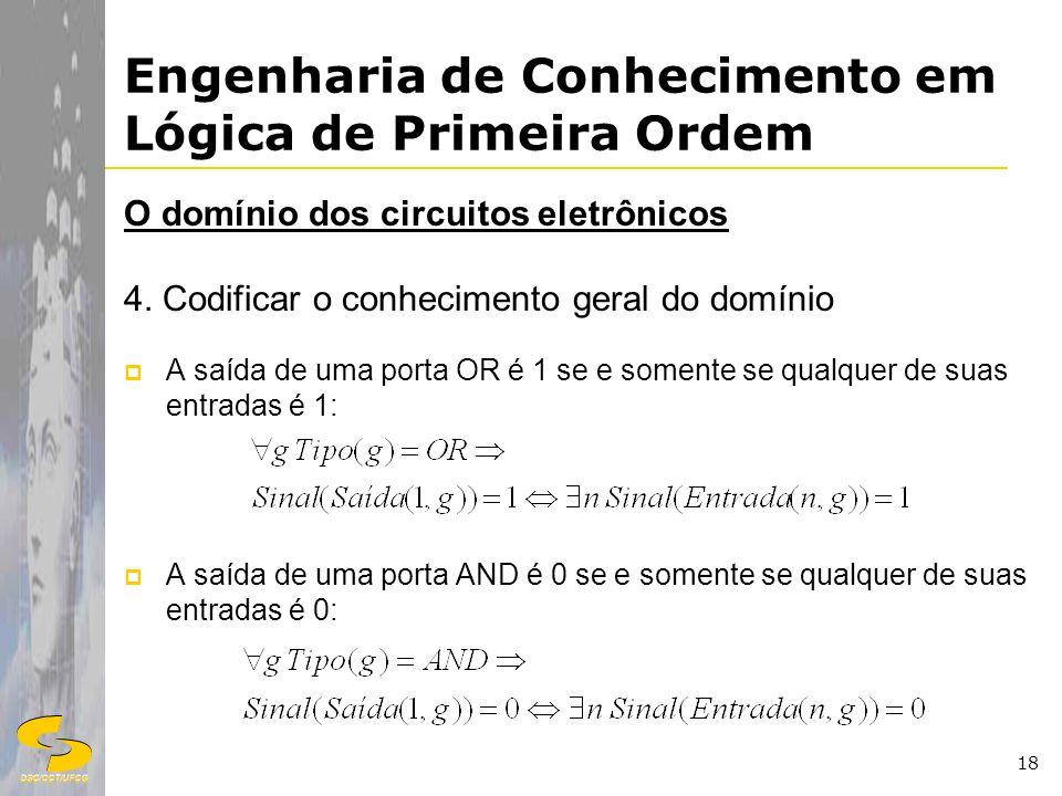 DSC/CCT/UFCG 18 Engenharia de Conhecimento em Lógica de Primeira Ordem O domínio dos circuitos eletrônicos 4. Codificar o conhecimento geral do domíni