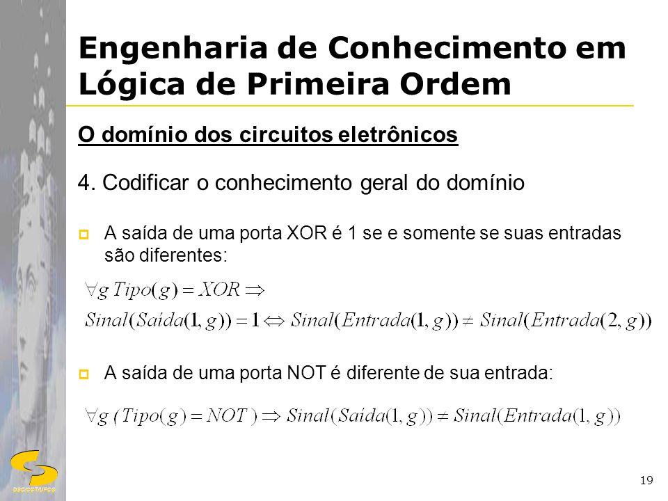 DSC/CCT/UFCG 19 Engenharia de Conhecimento em Lógica de Primeira Ordem O domínio dos circuitos eletrônicos 4. Codificar o conhecimento geral do domíni