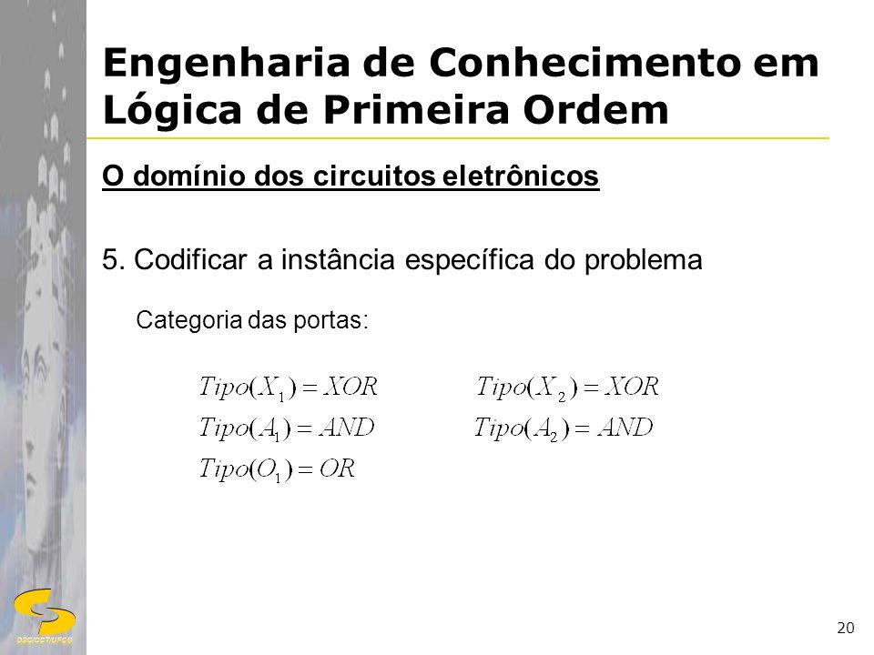 DSC/CCT/UFCG 20 Engenharia de Conhecimento em Lógica de Primeira Ordem O domínio dos circuitos eletrônicos 5. Codificar a instância específica do prob