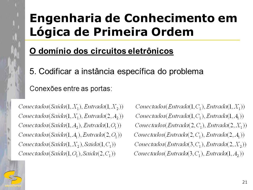 DSC/CCT/UFCG 21 Engenharia de Conhecimento em Lógica de Primeira Ordem O domínio dos circuitos eletrônicos 5. Codificar a instância específica do prob