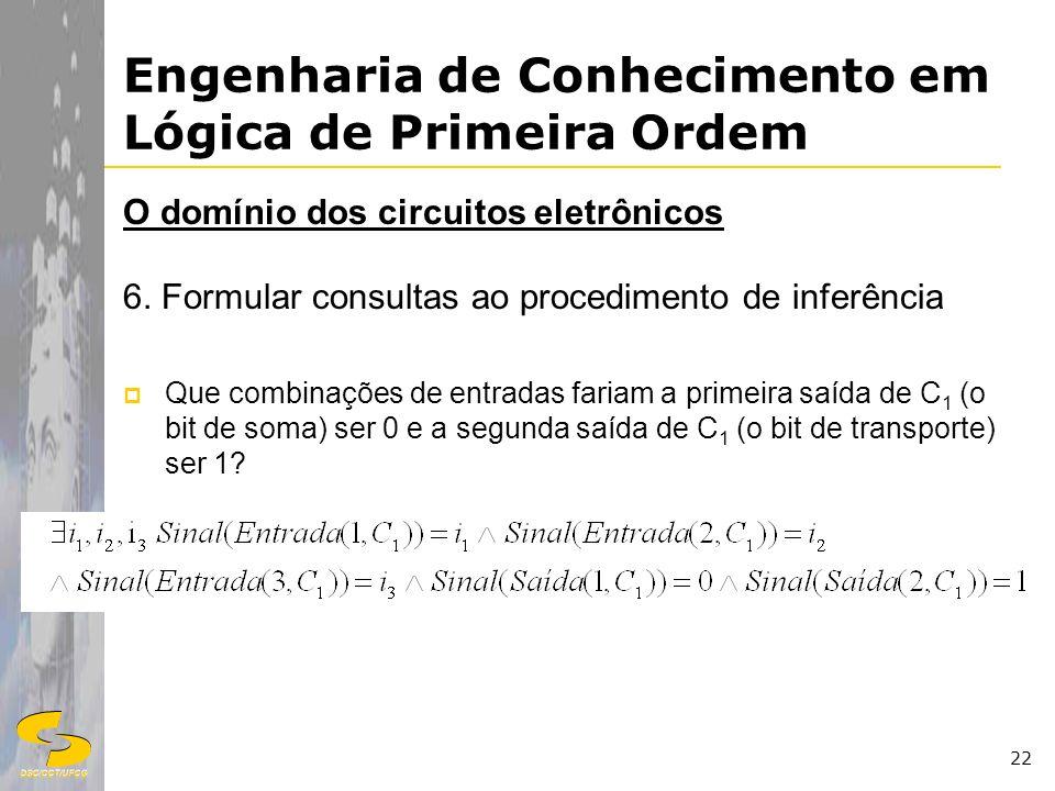 DSC/CCT/UFCG 22 Engenharia de Conhecimento em Lógica de Primeira Ordem O domínio dos circuitos eletrônicos 6. Formular consultas ao procedimento de in
