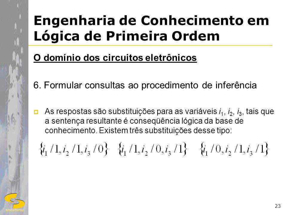 DSC/CCT/UFCG 23 Engenharia de Conhecimento em Lógica de Primeira Ordem O domínio dos circuitos eletrônicos 6. Formular consultas ao procedimento de in
