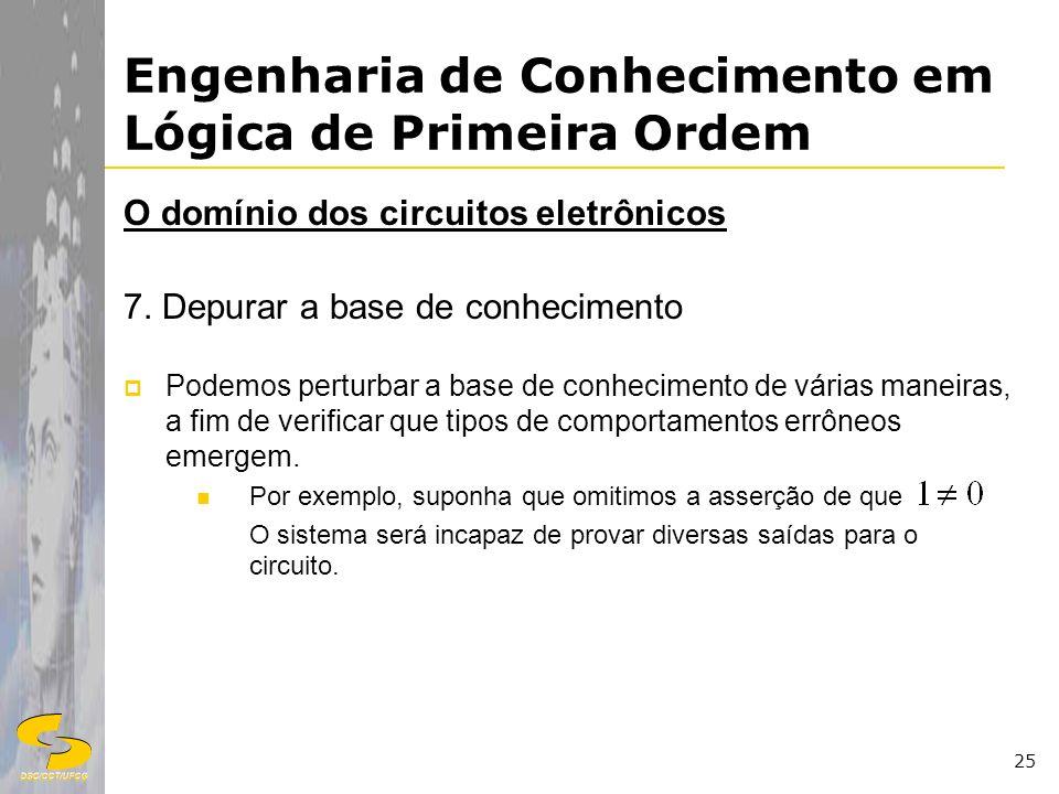 DSC/CCT/UFCG 25 Engenharia de Conhecimento em Lógica de Primeira Ordem O domínio dos circuitos eletrônicos 7. Depurar a base de conhecimento Podemos p