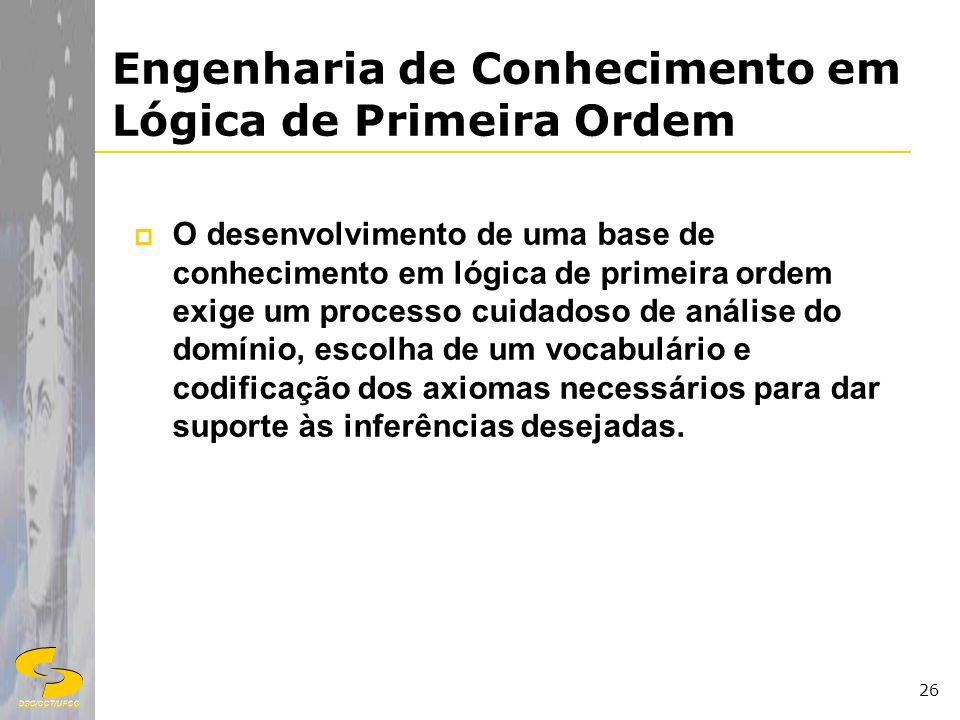 DSC/CCT/UFCG 26 Engenharia de Conhecimento em Lógica de Primeira Ordem O desenvolvimento de uma base de conhecimento em lógica de primeira ordem exige