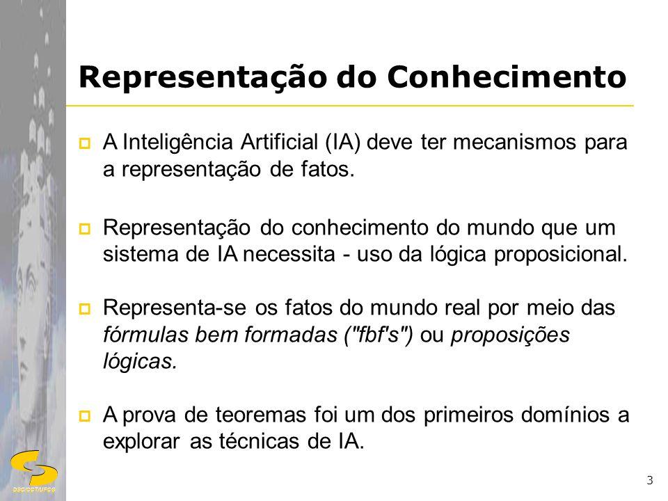 DSC/CCT/UFCG 3 Representação do Conhecimento A Inteligência Artificial (IA) deve ter mecanismos para a representação de fatos. Representação do conhec