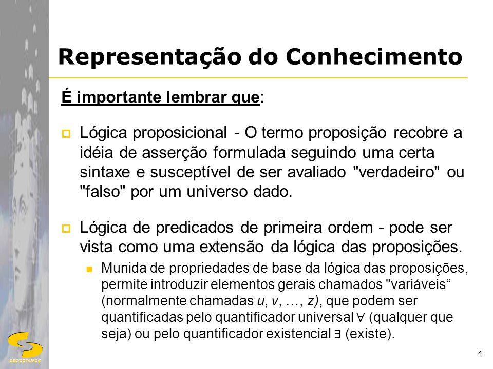 DSC/CCT/UFCG 4 Representação do Conhecimento É importante lembrar que: Lógica proposicional - O termo proposição recobre a idéia de asserção formulada