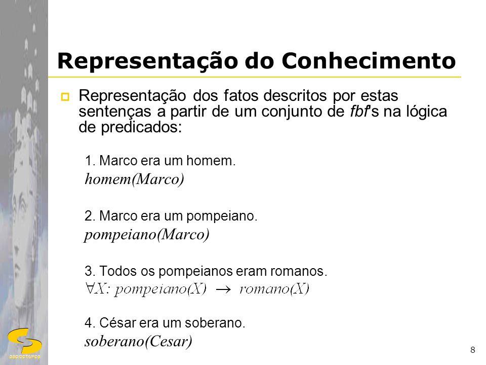 DSC/CCT/UFCG 8 Representação do Conhecimento Representação dos fatos descritos por estas sentenças a partir de um conjunto de fbf's na lógica de predi