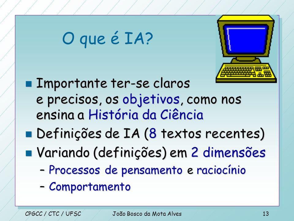 CPGCC / CTC / UFSCJoão Bosco da Mota Alves12 Introdução n Formalmente a área foi criada em 1956 quando o nome foi cunhado (Simon, Newell) n Há 2000 an