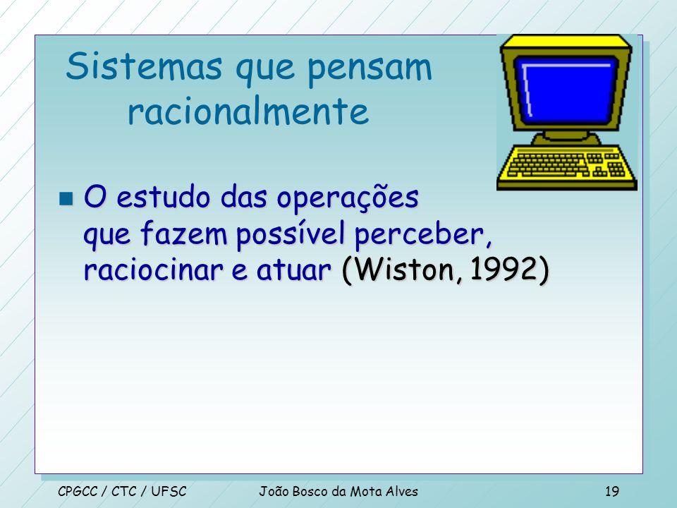 CPGCC / CTC / UFSCJoão Bosco da Mota Alves18 Sistemas que pensam racionalmente n O estudo das faculdades mentais através de modelos computacionais (Ch