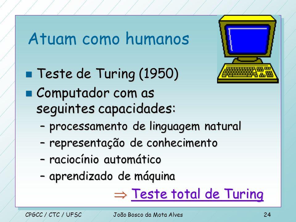 CPGCC / CTC / UFSCJoão Bosco da Mota Alves23 Sistemas que atuam racionalmente n O ramo da ciência da computação que está preocupada com a automação do