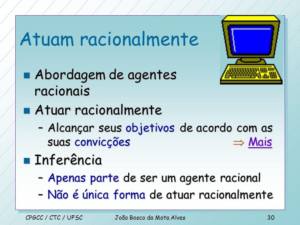 CPGCC / CTC / UFSCJoão Bosco da Mota Alves29 Trabalho 01 n Use suas próprias palavras para descrever, suscintamente –Sistemas que atuam como humanos –
