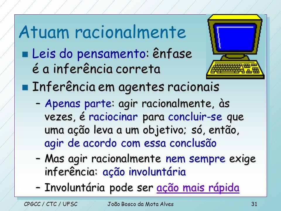 CPGCC / CTC / UFSCJoão Bosco da Mota Alves30 Atuam racionalmente n Abordagem de agentes racionais n Atuar racionalmente –Alcançar seus objetivos de ac